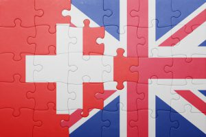 puzzle with the national flag of great britain and switzerland . concept
