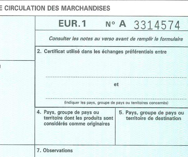 EUR1 – Abandon du certificat de circulation des marchandises ?